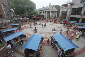 Shopping at Quincy Market pushcarts